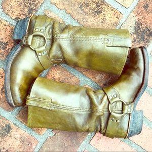 Frye harness 12R Moto boots rare green